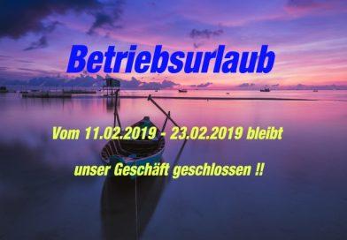 Betriebsurlaub 2019